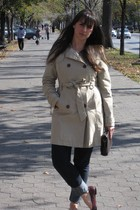 beige Old Navy jacket - blue Gap jeans - red Marc by Marc Jacobs shoes - brown v