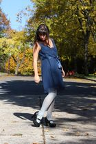 blue modcloth dress - blue Anthropologie tights - black coach shoes