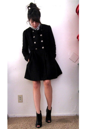 lace-up booties Forever 21 shoes - military coat - polka dot scarf