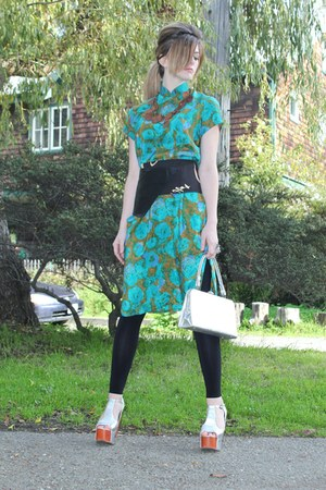 turquoise blue oriental print vintage from Ebay dress