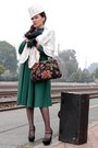 Dark-green-cotton-blend-vintage-dress-lace-vintage-hat