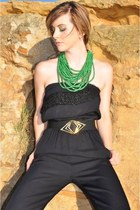 black vintage jumper - dark green vintage necklace