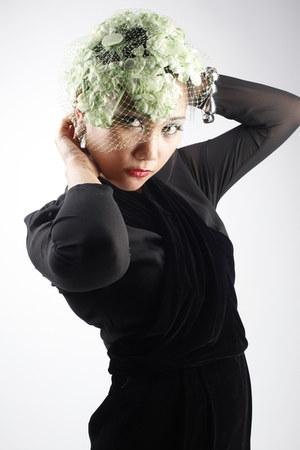 lime green floral net vintage hat