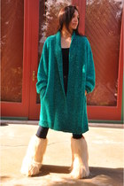 chunky teal vintage find sweater