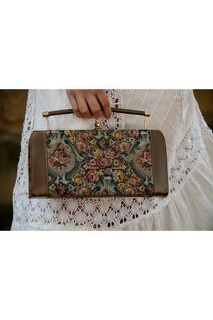 camel floral clutch vintage purse