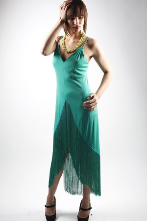 turquoise blue vintage dress
