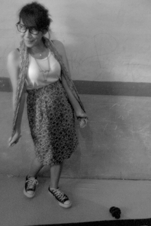 EDC top - Thrift Store skirt - Converse shoes - vintage scarf