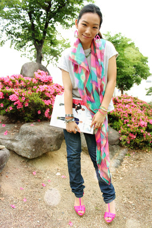 aquamarine H&M scarf - navy Diesel jeans