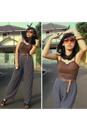YSL sunglasses - no brand pants - local brand clogs - DIY belt - Guess top