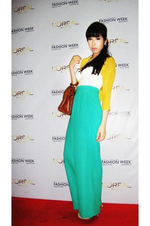 aquamarine H&M pants - light yellow chiffon blazer Gelibean Couture blazer