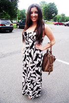 black elle dress - brown Forever 21 bag - silver vintage ring - tan Nine West sa