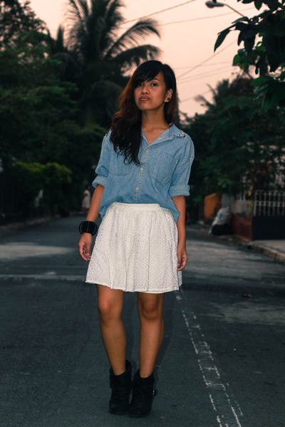black Topshop boots - white Topshop skirt - black Topshop bracelet