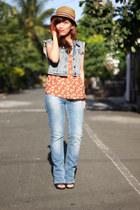 blue Topshop vest - blue Topshop jeans - camel Topman hat - tawny Topshop top