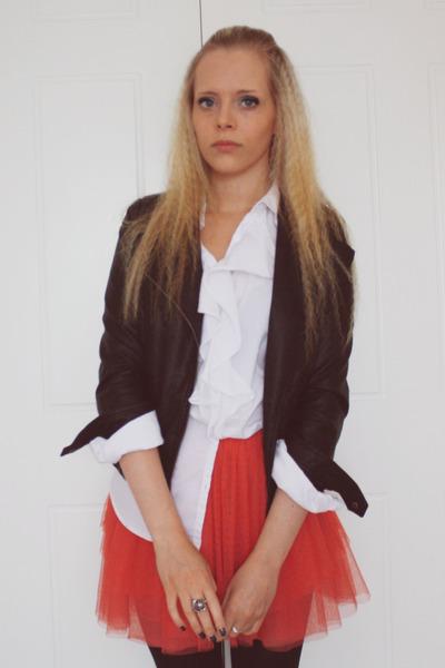 Topshop skirt - Zara jacket - Gap shirt