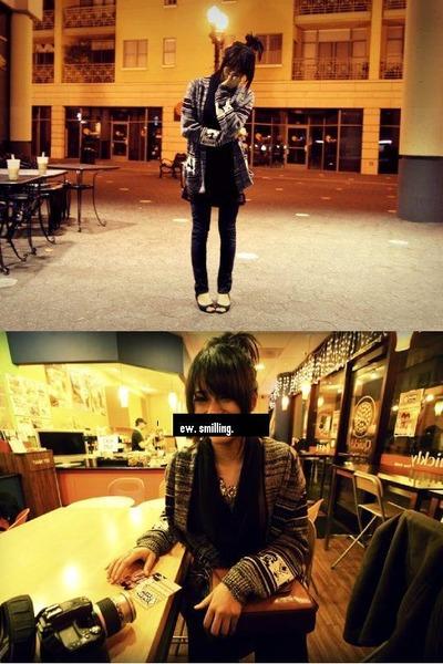 silver vintage cardigan - black vintage scarf - brown vintage shirt - blue Levis