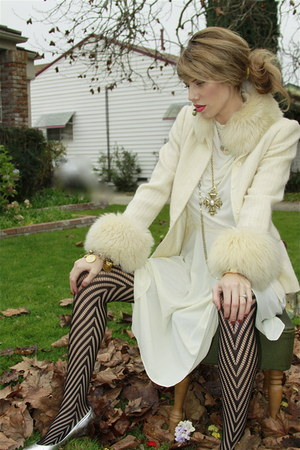 thrifted vintage coat - SticksNStonesGarbetsycom dress - thrifted vintage access