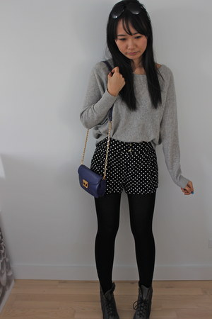 polka dots H&amp;M shorts - puce lace up Nicole boots - silver BCBG sweater
