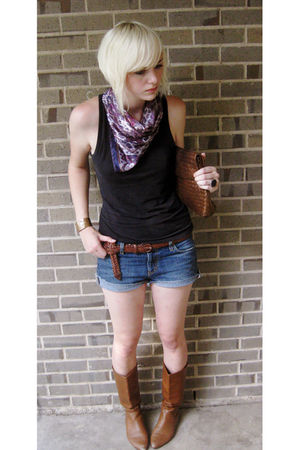 black Victorias Secret shirt - blue JCrew shorts - purple scarf - brown Bandolin