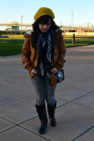 scarf - boots - hat - jacket - bag