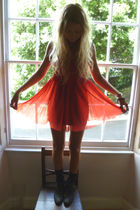red vintage dress - black Topshop shoes