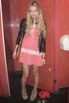red vintage dress - black Topshop jacket - beige vintage shoes