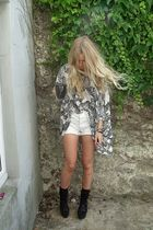 white Topshop top - white vintage shorts - black Aldo shoes