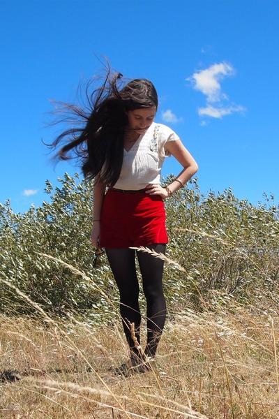 black American Apparel tights - ruby red thrifted shorts - mustard Market sungla