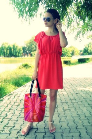 light pink shiny H&M sandals - hot pink Motivi dress - bubble gum Avon bag
