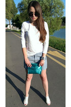white sandals - teal shiny Avon purse - gray metal DKNY watch - aquamarine pants
