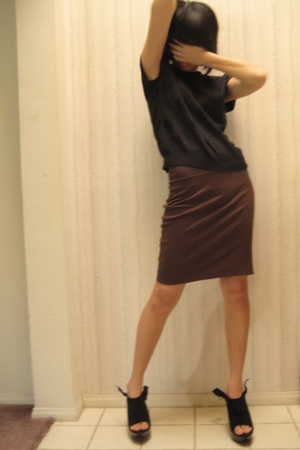 black Gotham top - brown aa skirt