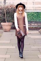 Topshop dress - new look boots - H&M hat - Monki shirt