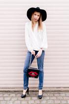 River Island hat - Cheap Monday jeans - Nasty Gal bag - Daniel Wellington watch