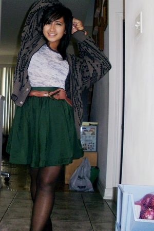 H&M stockings - H&M skirt - Forever21 shirt - H&M belt - club international swea