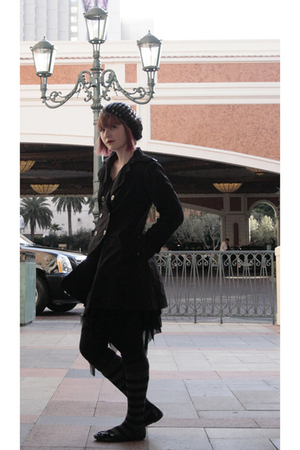 black Candies coat - black Carolina skirt - black Icing hat - black tights - gra