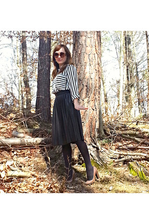 Zara skirt - Zara shirt - Prada sunglasses - Bata pumps