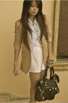 nude Zara blazer - black balenciaga bag - neutral f21 shorts - white Topshop top