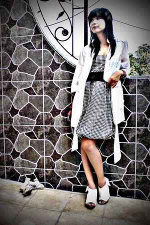 white shoes - white blazer - black dress