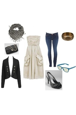 vera wang dress - jeans - Forever21 blazer - Chanel purse - White and Black shoe