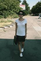 H&M t-shirt - vintage skirt - mens  vagabond shoes - 2nd Hand purse