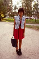 second hand vest - Naf-Naf dress - second hand belt - vagabond shoes