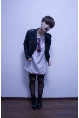 H&M jacket - - womens secret tights - shoes