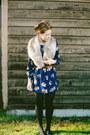 Blu-pepper-dress-fur-collar-thrifted-scarf-brown-thin-belt-zara-belt