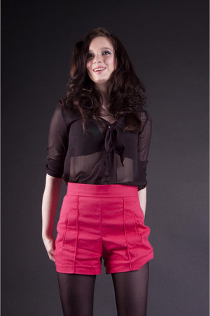 black Zara Trf shirt - hot pink Zara shorts - black Miss Selfridge bracelet
