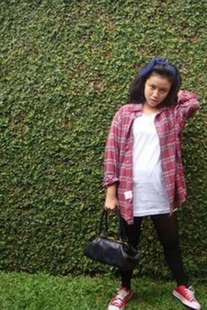 Rider blouse - no brand top - NyLa stockings - Converse AllStar shoes - Topshop