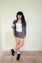 black Adorable projects indonesia boots - dark green flannel vintage shirt