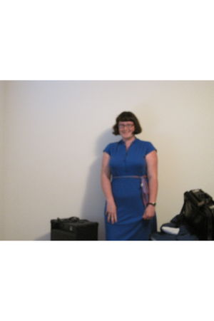 blue thrifted dress - purple Hand-Me-Down from Grandma belt