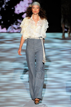wide leg Badgley Mischka jeans - ruffle sleeves Badgley Mischka blouse