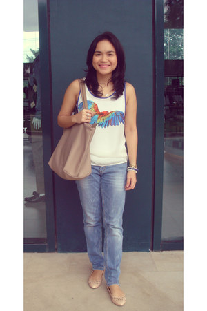 Promod blouse - Promod jeans - longchamp bag - Charles and Keith flats