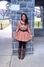 Black-forever-21-stockings-dark-brown-momoki-boots-dress