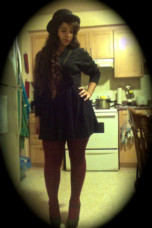 bowler hat hat - black -thrifted dress - tights - heels